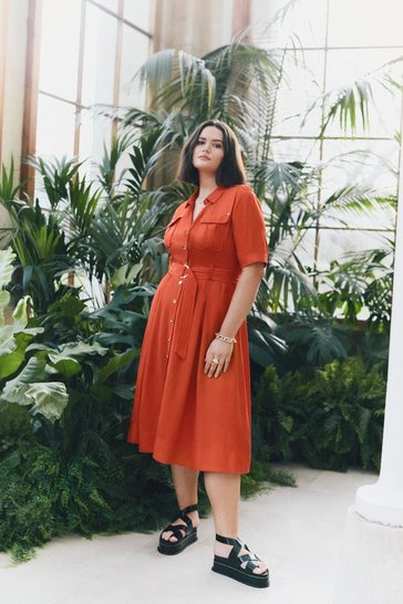Red Curve Linen Blend Shirt Dress