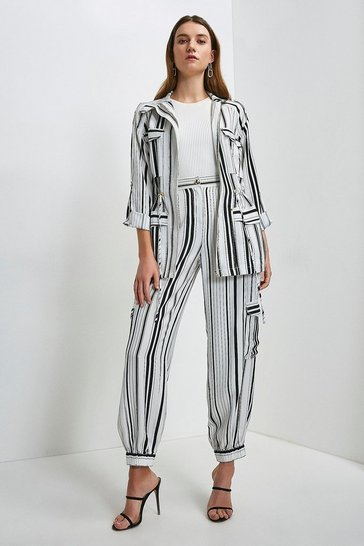 White Stripe Linen Viscose Jacket