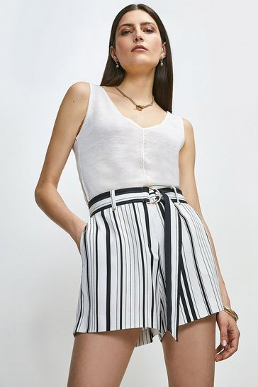White Stripe Linen Viscose Short