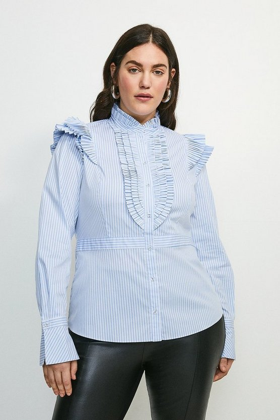 Blue Curve Pleat Ruffle Stripe Shirt