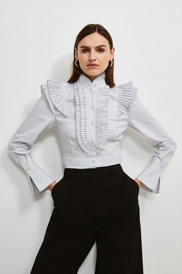 Mono Pleat Ruffle Stripe Shirt