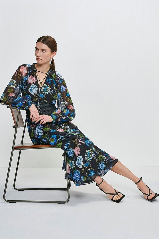 Black Soft Floral Midi Dress With Strappy Belt