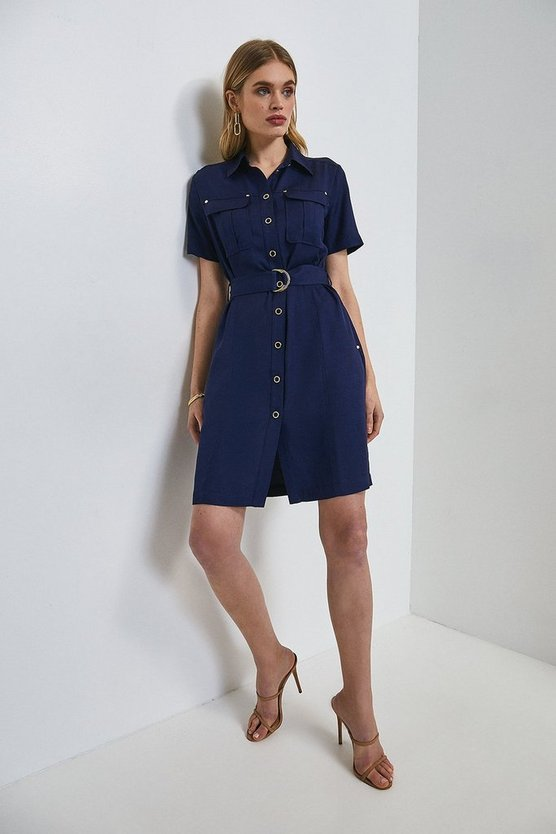 Navy Linen Viscose Utility Dress