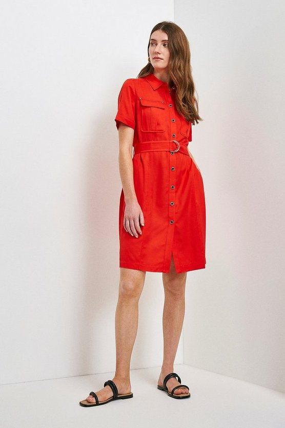 Red Linen Viscose Utility Dress