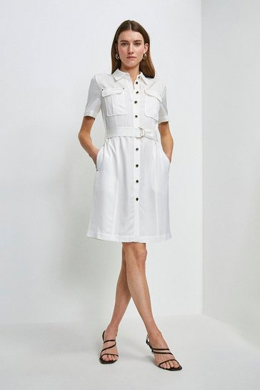 White Linen Viscose Utility Dress