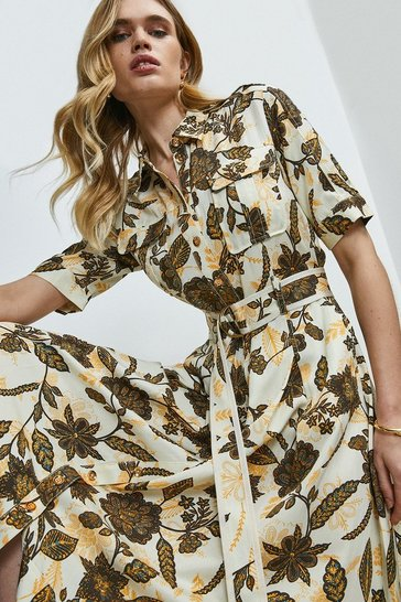 Ivory Floral Linen Viscose Shirt Dress