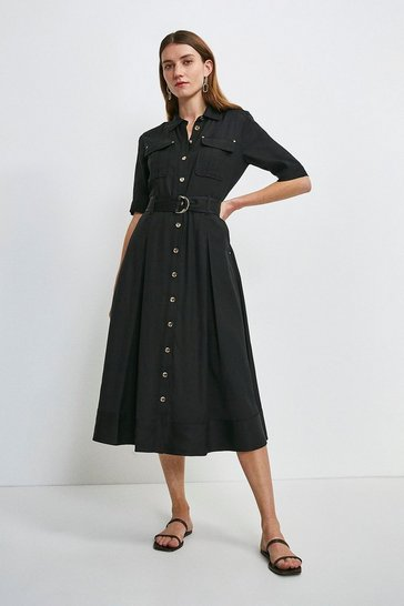 Black Linen Viscose Shirt Dress