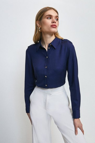 Navy Linen Viscose Long Sleeved Utility Shirt