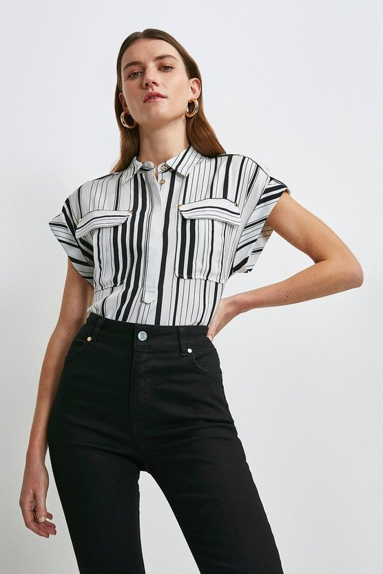 White Stripe Linen Viscose Utility Shirt