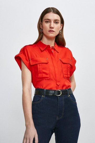 Red Linen Viscose Utility Shirt