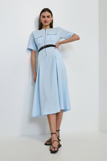 Pale blue Textured Zip Front Midi Dress