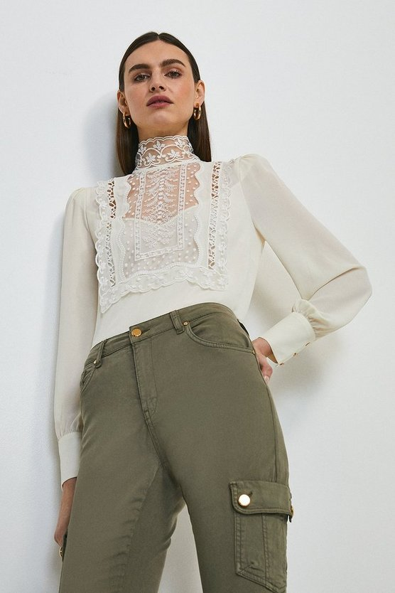 Ivory Embroidered Bib Detail Blouse