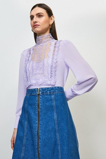 Lilac Embroidered Bib Detail Blouse
