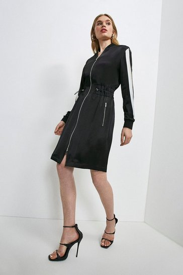 Black Luxe Crepe Satin Long Sleeve Sporty Dress