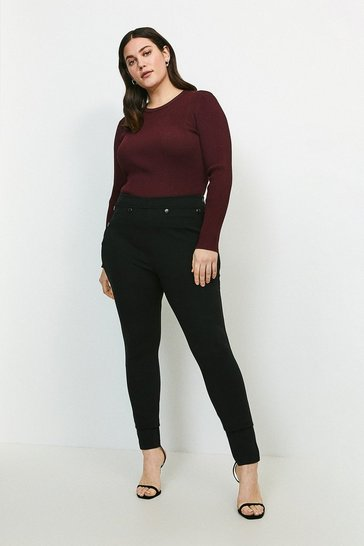 Black Curve Ponte Button Detail Legging
