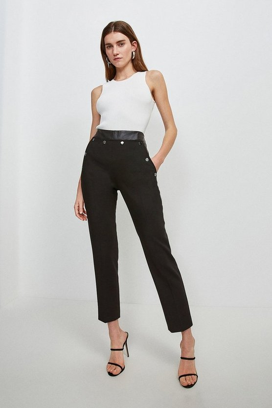 Black Compact Stretch Popper Straight Leg Trousers