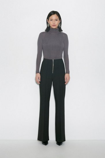 Black Compact Stretch Zip Front Wide Trousers