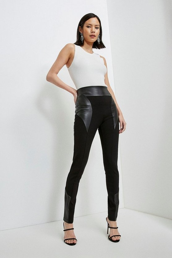 Black Faux Leather Stretch Ponte Panelled Leggings