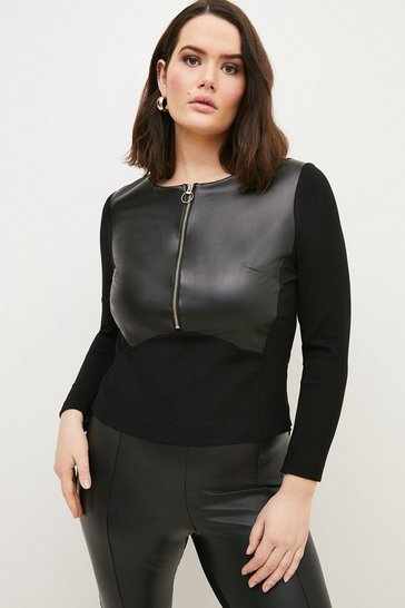 Black Curve Faux Leather Ponte Panelled Top