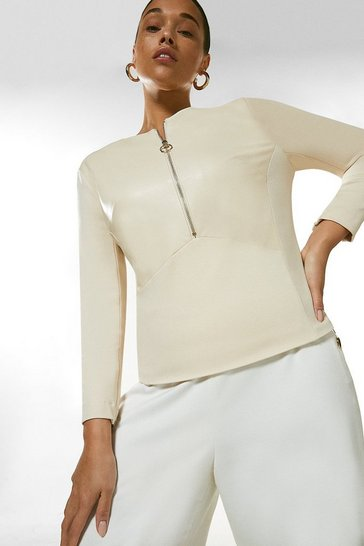 Natural Curve Faux Leather Ponte Panelled Top