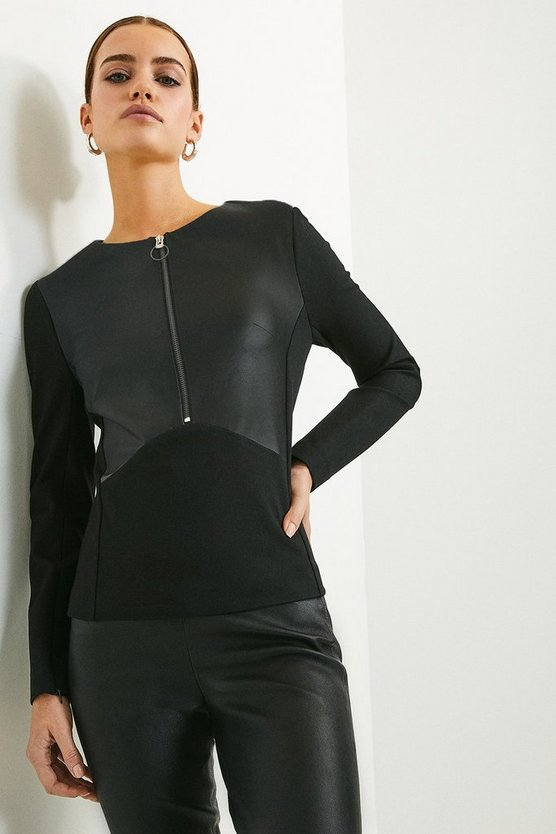 Black Faux Leather Ponte Panelled Top