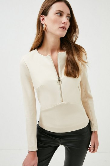 Cream Faux Leather Ponte Panelled Top
