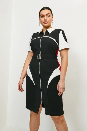 Multi Curve Compact Stretch Blocked Zip Pencil Dress