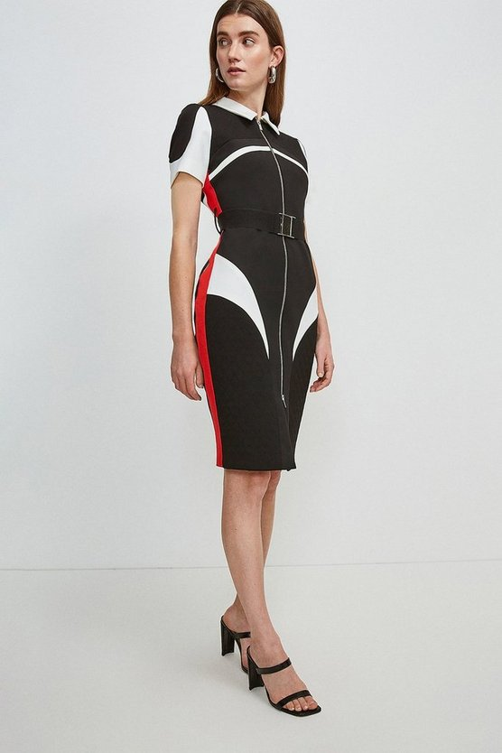 Multi Compact Stretch Blocked Zip Pencil Dress