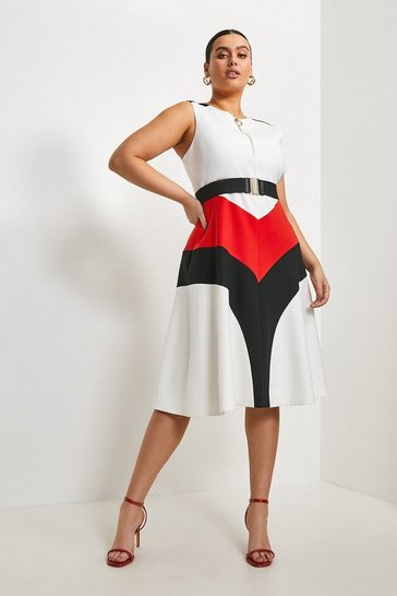 Multi Curve Compact Stretch Colour Block Midi Dress