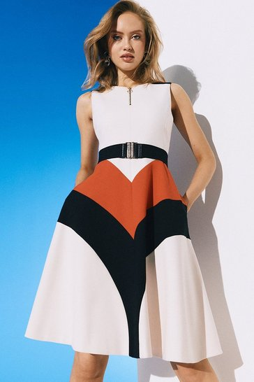 Multi Compact Stretch Colour Block Midi Dress
