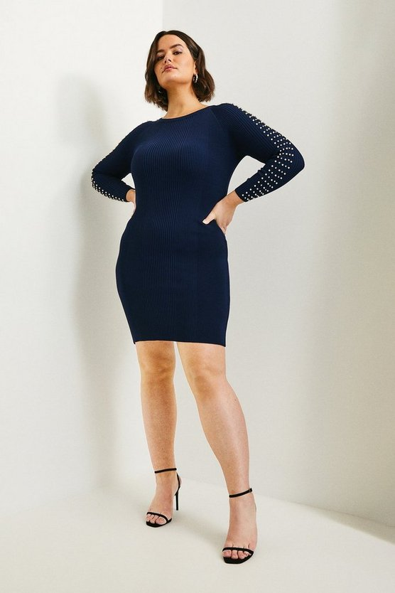Navy Curve Sparkle Trim Sleeve Knitted Rib Dress