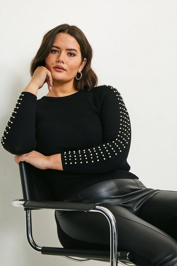 Black Curve Sparkle Trim Sleeve Knitted Rib Top