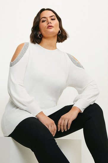 Ivory Curve Hot Fix Stud Cold Shoulder Jumper