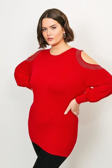Red Curve Hot Fix Stud Cold Shoulder Jumper