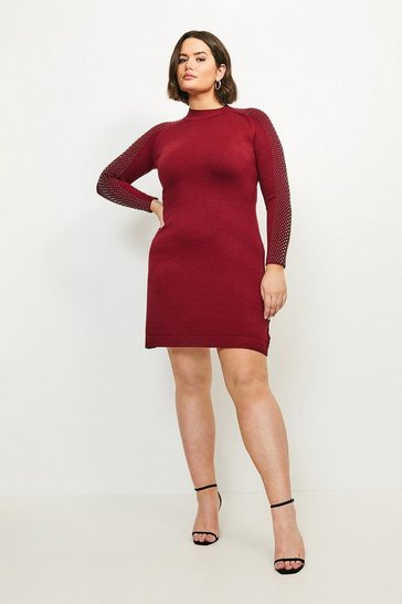 Wine Curve Hot Fix Stud Dress