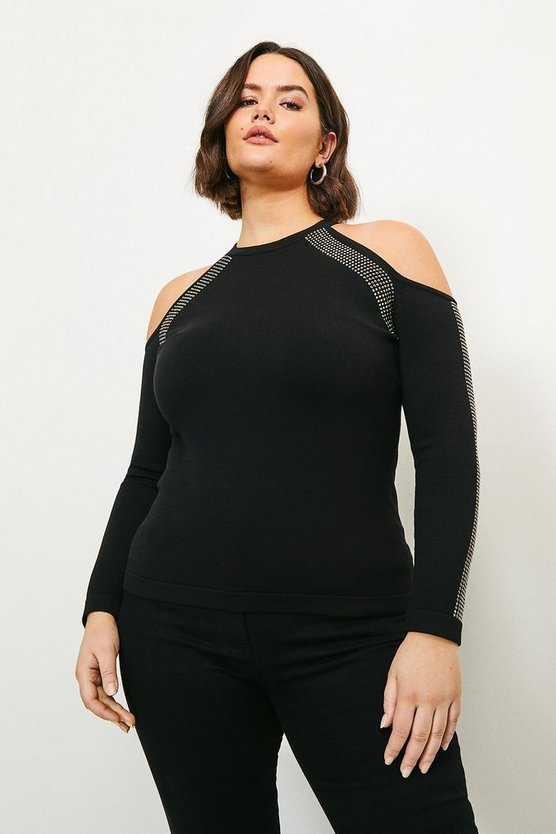 Black Curve Hot Fix Stud Cold Shoulder Top