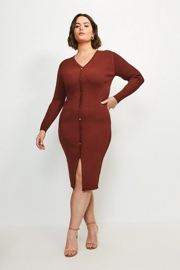 Rust Curve Button Detail Knitted Rib Dress