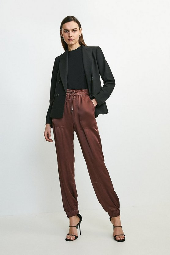 Chocolate Luxe Crepe Satin Jogger