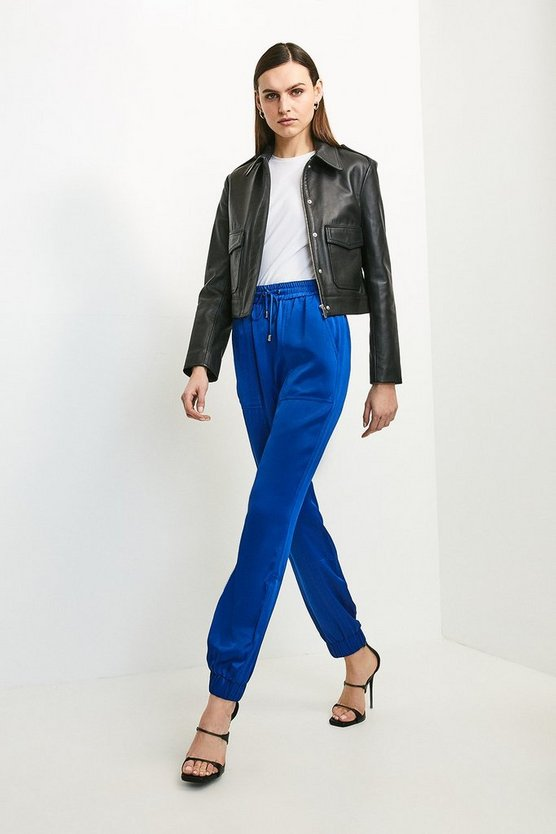 Cobalt Luxe Crepe Satin Jogger