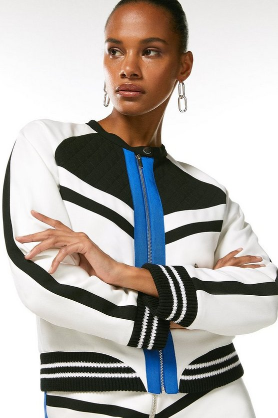 Mono Compact Stretch Colourblock Bomber Jacket