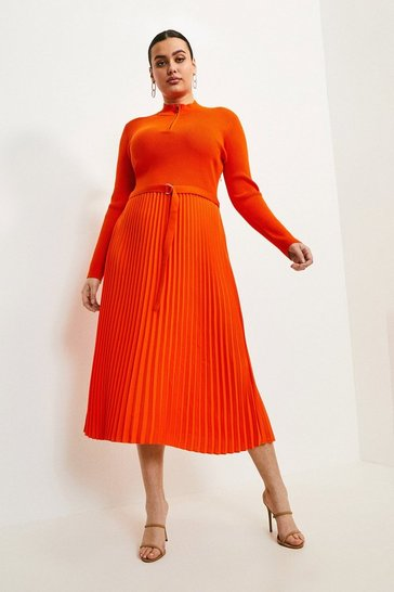 Orange Curve Zip Turtle Neck Pleated Dress