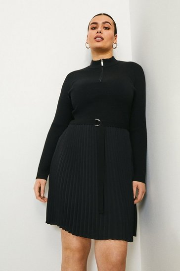 Black Curve Pleated Short Knitted Dress