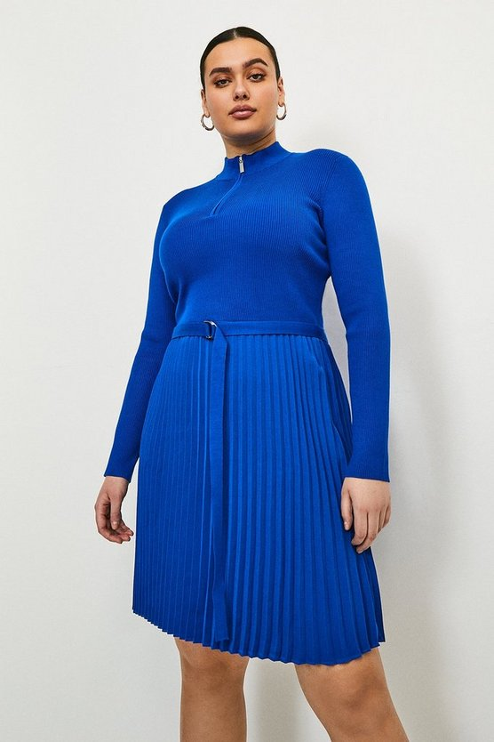 Cobalt Curve Pleated Short Knitted Dress