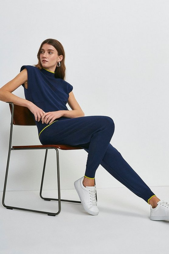 Navy Pointelle Knitted Jogger