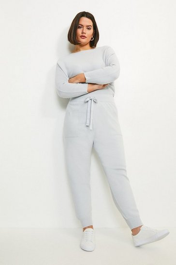 Blue Curve Knit Soft Yarn Cuffed Jogger