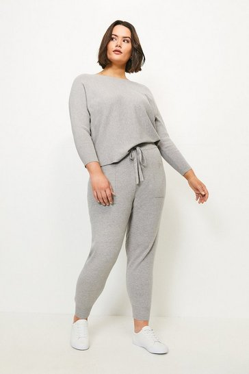 Grey Curve Knit Soft Yarn Cuffed Jogger
