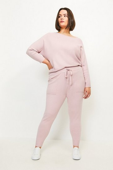 Pink Curve Knit Soft Yarn Cuffed Jogger