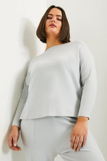 Blue Curve Long Sleeve Soft Yarn Jumper