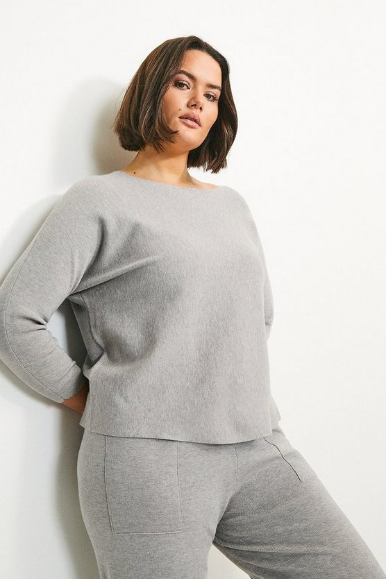 Grey Curve Long Sleeve Soft Yarn Jumper
