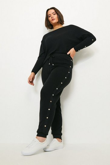 Black Curve Soft Yarn Rivet Cuffed Jogger